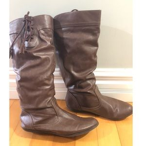 Faded Glory brown faux leather slouch boots